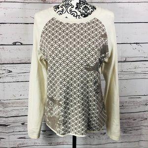 Prana Wool Blend Patterned Sweater Large